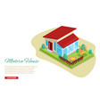 morden residential house with garden isometric vector image