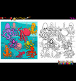 octopus animal characters coloring book vector image vector image