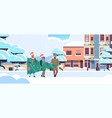 people carrying fir tree preparing for merry vector image vector image