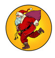 santa claus is running new year and christmas vector image vector image