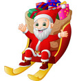 santa claus riding a sleigh with full of gifts vector image