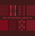 set of seamless patterns with geometric shapes vector image vector image