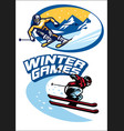 set of skiing sport badge vector image vector image