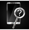 smartphone and magnifying glass vector image vector image