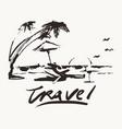 travel vacation beach sea palm sketch