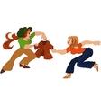 Two cartoon girls fighting over brown jacket vector image vector image