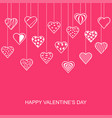 valentines day card with hanging decorative hearts vector image vector image
