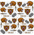 vintage tiger tattoo pattern vector image vector image