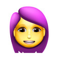 woman emoji icon medium skin tone purple hair vector image vector image