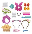 womens hair clips and elastic bands vector image vector image