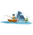 adult male fisherman fishing on a boat vector image