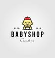 baby shop toddler babies hat logo hipster vintage vector image