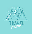 badge in trendy linear style with mountain a vector image