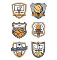 basketball game badges and sport icons vector image vector image