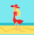 beatuful woman in a red dress and beach hat vector image