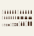 beer package icon set bottle can box vector image