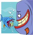 bigger fish saying cartoon vector image