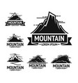black rocky mountains emblems with clear sky above vector image vector image