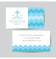 business card with palm seagulls island vector image
