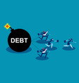 business team run away from debt concept business vector image vector image