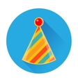 celebratory striped clown cap icon vector image vector image