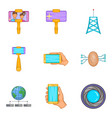 cell phone icons set cartoon style vector image