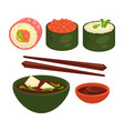 chinese and japanese delicious exotic food vector image vector image