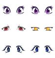 Collection of female eyes and eyebrows of vector image