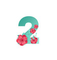 color number 2 with beautiful flowers vector image