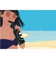cute beach girl vector image