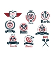 Darts sporting icons and emblems vector image vector image