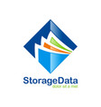 data storage file folder logo vector image vector image