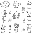Doodle of spring flower set hand draw vector image vector image