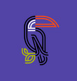 double line style toucan on purple background vector image vector image