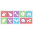 Flat icons set for web meat eggs offal and vector image vector image