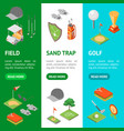 golf game equipment banner vecrtical set isometric vector image vector image