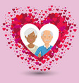 grandparents couple in heart avatars characters vector image vector image