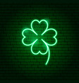 green cloverleaf neon sign vector image
