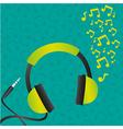 headphones green background pattern of headphones vector image