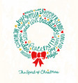 inspiring words in christmas wreath shape vector image vector image