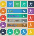 Karate kick icon sign Set of twenty colored flat vector image vector image