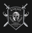knight shield and helmet vintage badge logo vector image