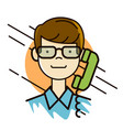 man in glasses portrait making a call by the phone vector image vector image