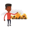 Man standing on background of wildfire vector image
