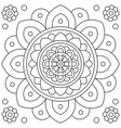 mandala flower coloring page black and white vector image vector image