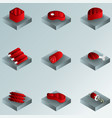 meat color gradient isometric icons vector image