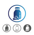 medicines pills with bottle icon vector image vector image