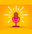 microphone on yellow halftone background vector image vector image