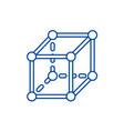 molecular cube line icon concept molecular cube vector image