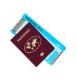passport and plane ticke vector image